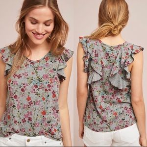 Anthropologie t.la Floral Ruffle Sleeve Knit Top